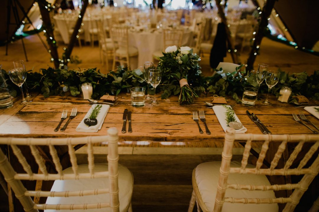 Rustic flowers for a tipi wedding
